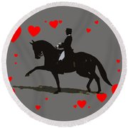 Dressage With Hearts Round Beach Towel