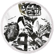 Drew Brees New Orleans Saints Pixel Art 1 Round Beach Towel by Joe Hamilton