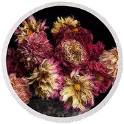 Dried Dahlias From The Garden Round Beach Towel