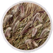Dried Grasses In Burgundy And Toasted Wheat Round Beach Towel