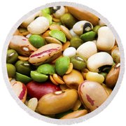Dried Legumes And Cereals Round Beach Towel