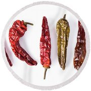 Dried Peppers Lined Up Round Beach Towel