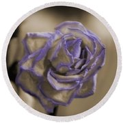 Dried Rose In Sienna And Ultra Violet Round Beach Towel