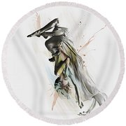 Drift Contemporary Dance Two Round Beach Towel by Galen Valle