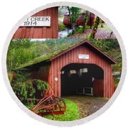 Drift Creek Covered Bridge Round Beach Towel