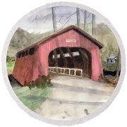 Drift Creek Covered Bridge Watercolor Round Beach Towel