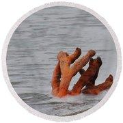 Drifting Coral Round Beach Towel