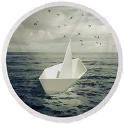 Round Beach Towel featuring the photograph Drifting Paper Boat by Carlos Caetano