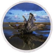Driftwood And Reflection Round Beach Towel