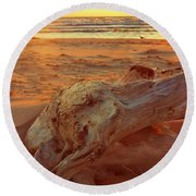Round Beach Towel featuring the photograph Driftwood At Sunset by Michelle Calkins