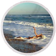 Round Beach Towel featuring the photograph Driftwood In The Surf by Roupen  Baker