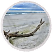 Driftwood On The Beach Round Beach Towel by Paul Ward