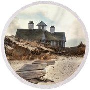 Round Beach Towel featuring the photograph Driftwood by Robin-Lee Vieira