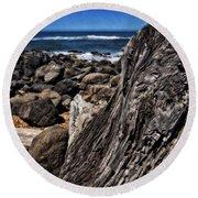 Driftwood Rocks Water Round Beach Towel