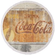 Round Beach Towel featuring the photograph Drink Coca Cola by Mark Greenberg