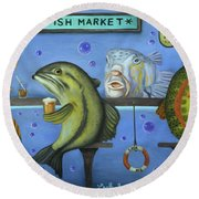 Drink Like A Fish Round Beach Towel