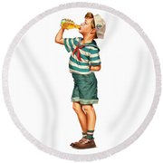 Round Beach Towel featuring the digital art Drink Up Sailor by ReInVintaged