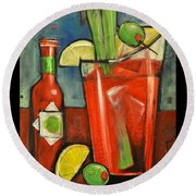 Drink Your Vegetables Poster Round Beach Towel by Tim Nyberg