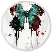 Dripping Butterfly Round Beach Towel