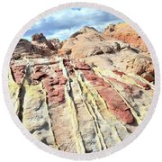 Dripping Color In Valley Of Fire Round Beach Towel