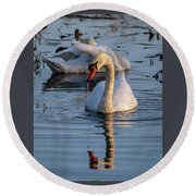 Dripping Swan Round Beach Towel