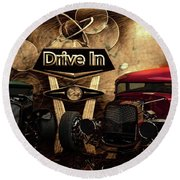 Drive In Round Beach Towel by Louis Ferreira