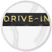Drive-in Retro Sign Round Beach Towel