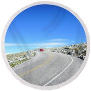 Round Beach Towel featuring the photograph Drive Up by Alana Ranney