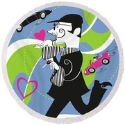 Driven To Love Round Beach Towel