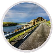 Round Beach Towel featuring the photograph Driving Along The Norwegian Sea by Dmytro Korol