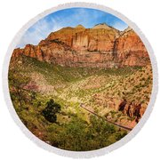 Driving Into Zion Round Beach Towel