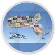Driving Massachusetts Round Beach Towel