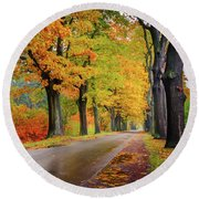 Driving On The Autumn Roads Round Beach Towel