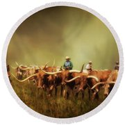 Driving The Herd Round Beach Towel by Priscilla Burgers