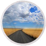 Driving Through The Wheat Fields Round Beach Towel