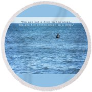 Drop In The Ocean Surfer  Round Beach Towel by Terry DeLuco