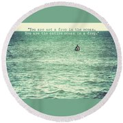 Drop In The Ocean Surfer Vintage Round Beach Towel by Terry DeLuco
