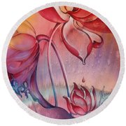 Round Beach Towel featuring the painting Drop Of Love by Anna Ewa Miarczynska
