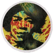 Round Beach Towel featuring the painting Drop's From My Fender's Fingers by Jayime Jean