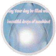 Drops Of Sunshine Round Beach Towel