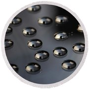 Drops Of Water -macro Round Beach Towel