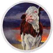 Round Beach Towel featuring the painting Drought Breaker by Margaret Stockdale