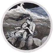 Drowned Man Being Assisted By A Mermaid Round Beach Towel