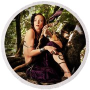 Druid In The Wood Round Beach Towel