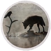 Druid Wolf And Raven Silhouette Round Beach Towel