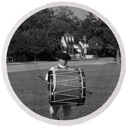 Round Beach Towel featuring the photograph Drummer Boy by Eric Liller