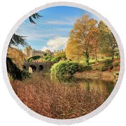 Drummond Castle Gardens Round Beach Towel