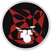 Drums In Black Strife Round Beach Towel