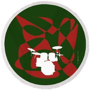 Drums In Green Strife Round Beach Towel