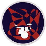 Drums In Purple Strife Round Beach Towel